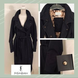 34b2d49ec56 Yves Saint Laurent. YVES SAINT LAURENT BELTED TRENCH COAT IN BLACK